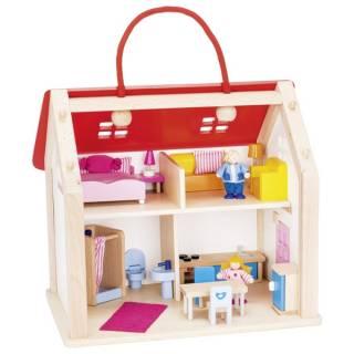 Drvena kuća kofer za lutke sa dodacima 51780