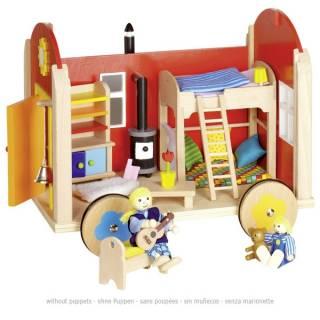 Drvena kuća za lutke na točkovima 159820