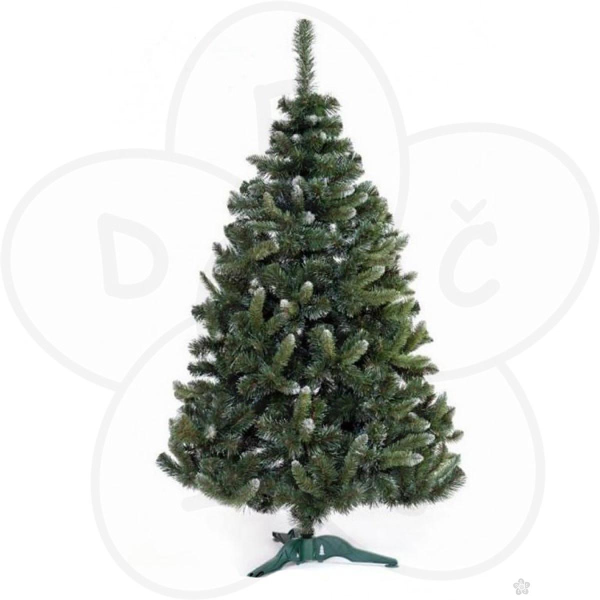 Zelena novogodišnja jelka sa belim vrhovima, 180cm