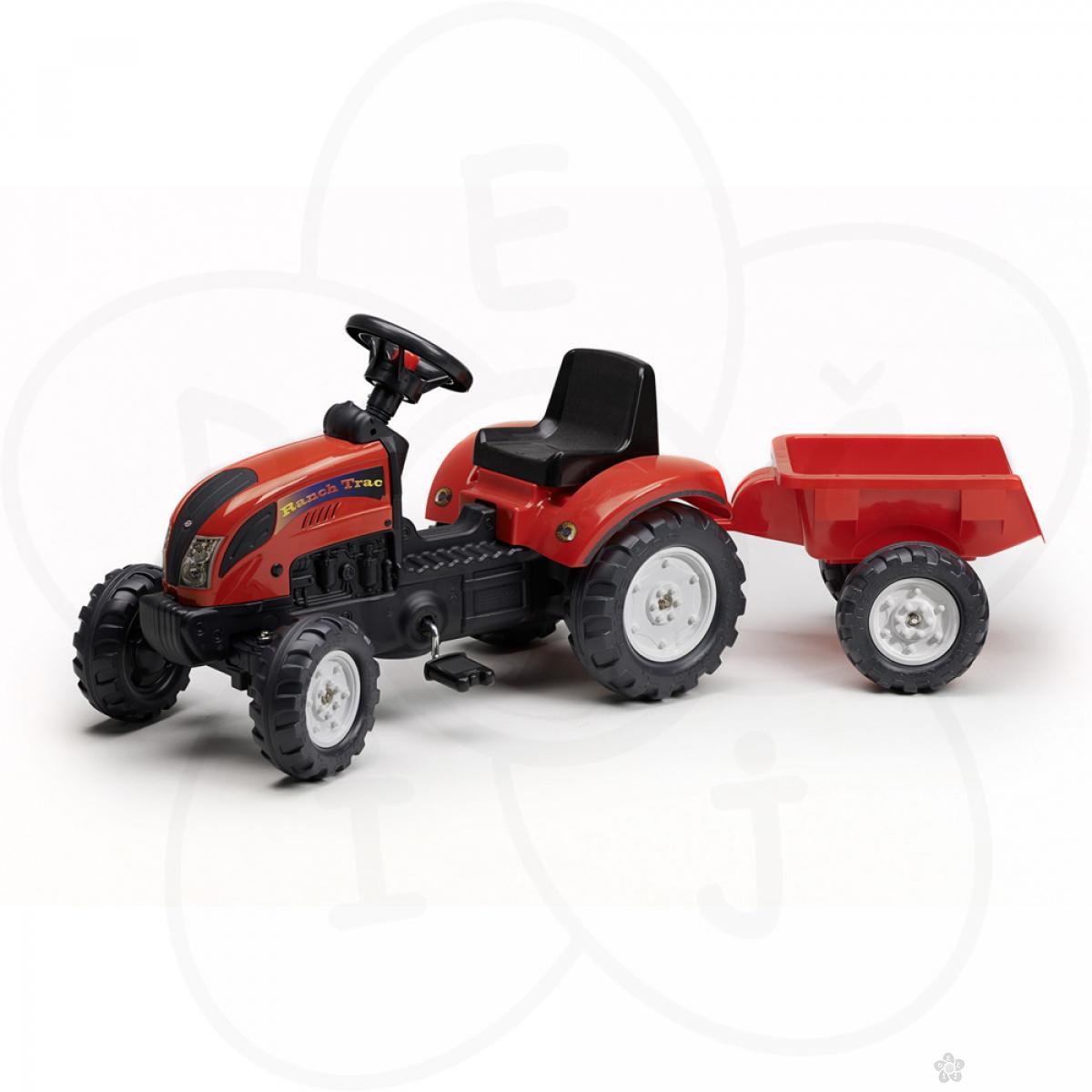Traktor na pedale sa prikolicom Falk crveni