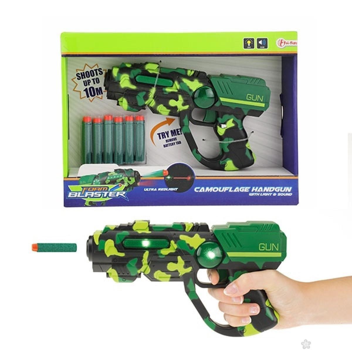 Pištolj FOAM BLASTER maskirni sa sunđerastim mecima