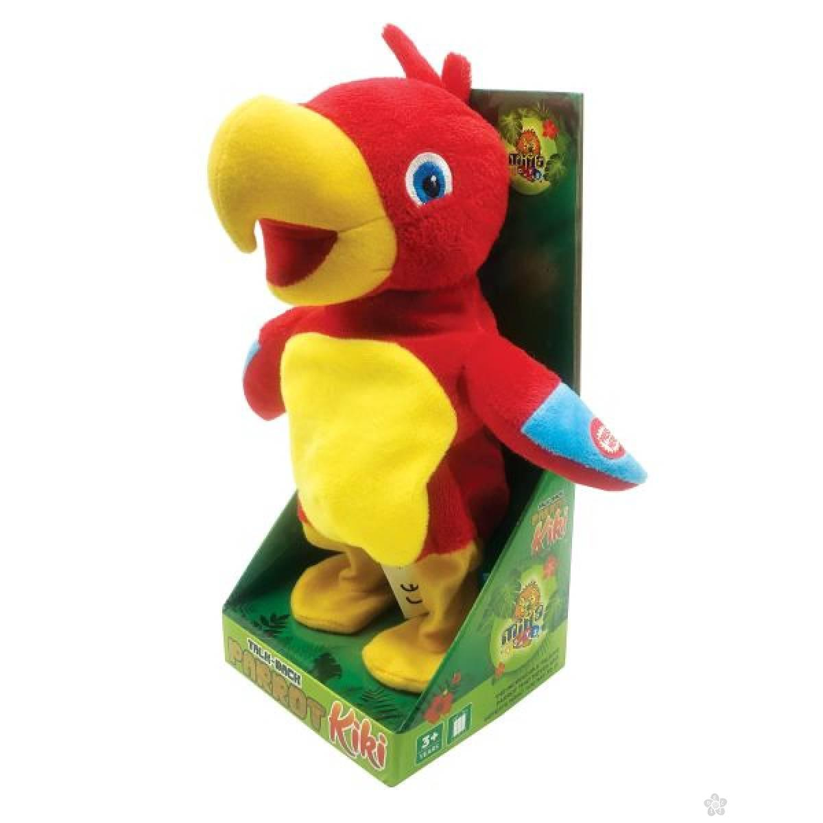 Plišani papagaj Kiki koji ponavlja reči