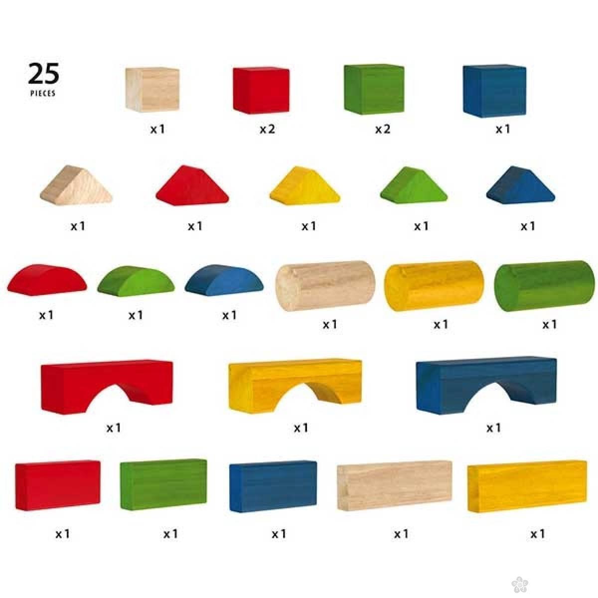 Set kocki u boji 25 komada Brio BR30114