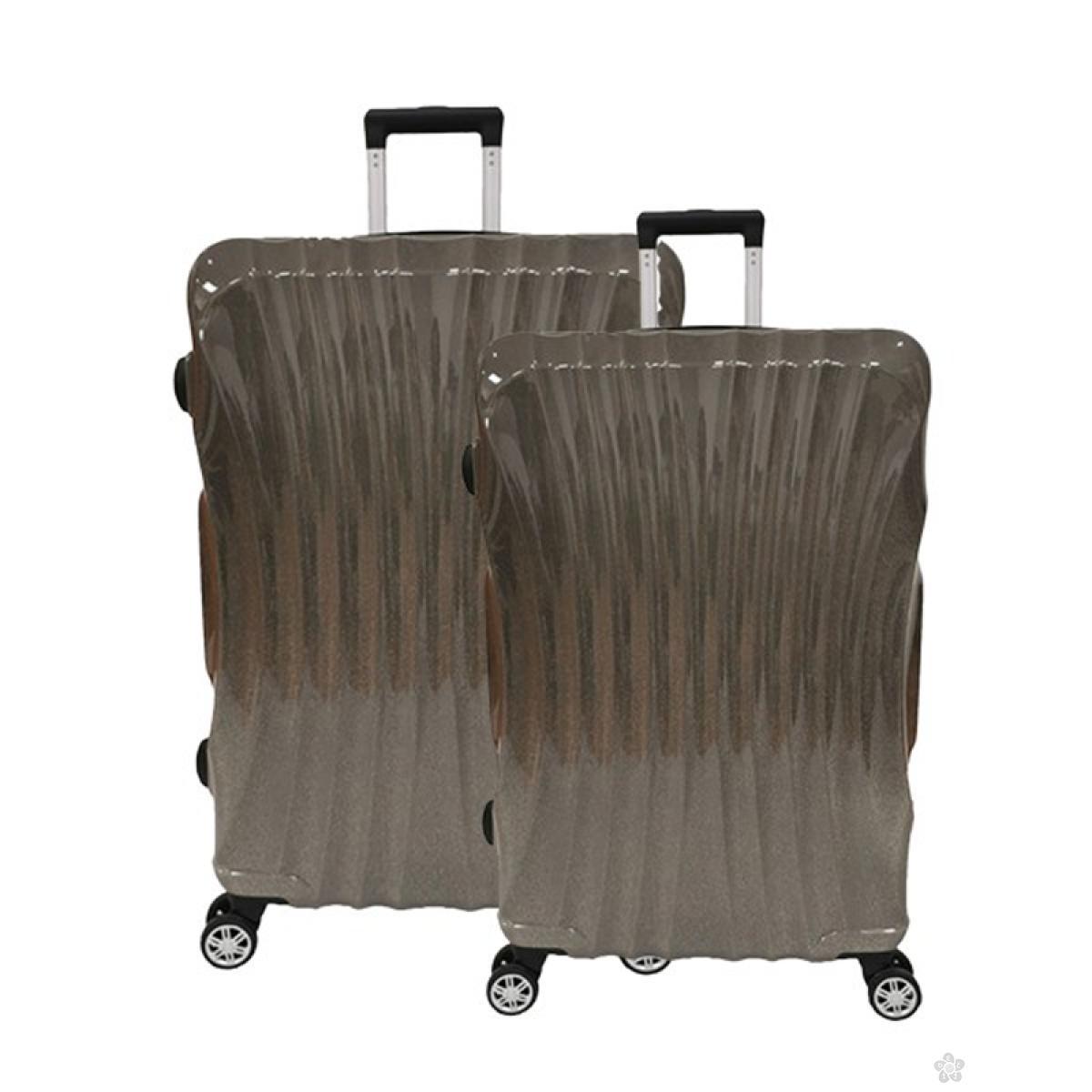 Set kofera Las Vegas ABS 2 komada -gliter sivi