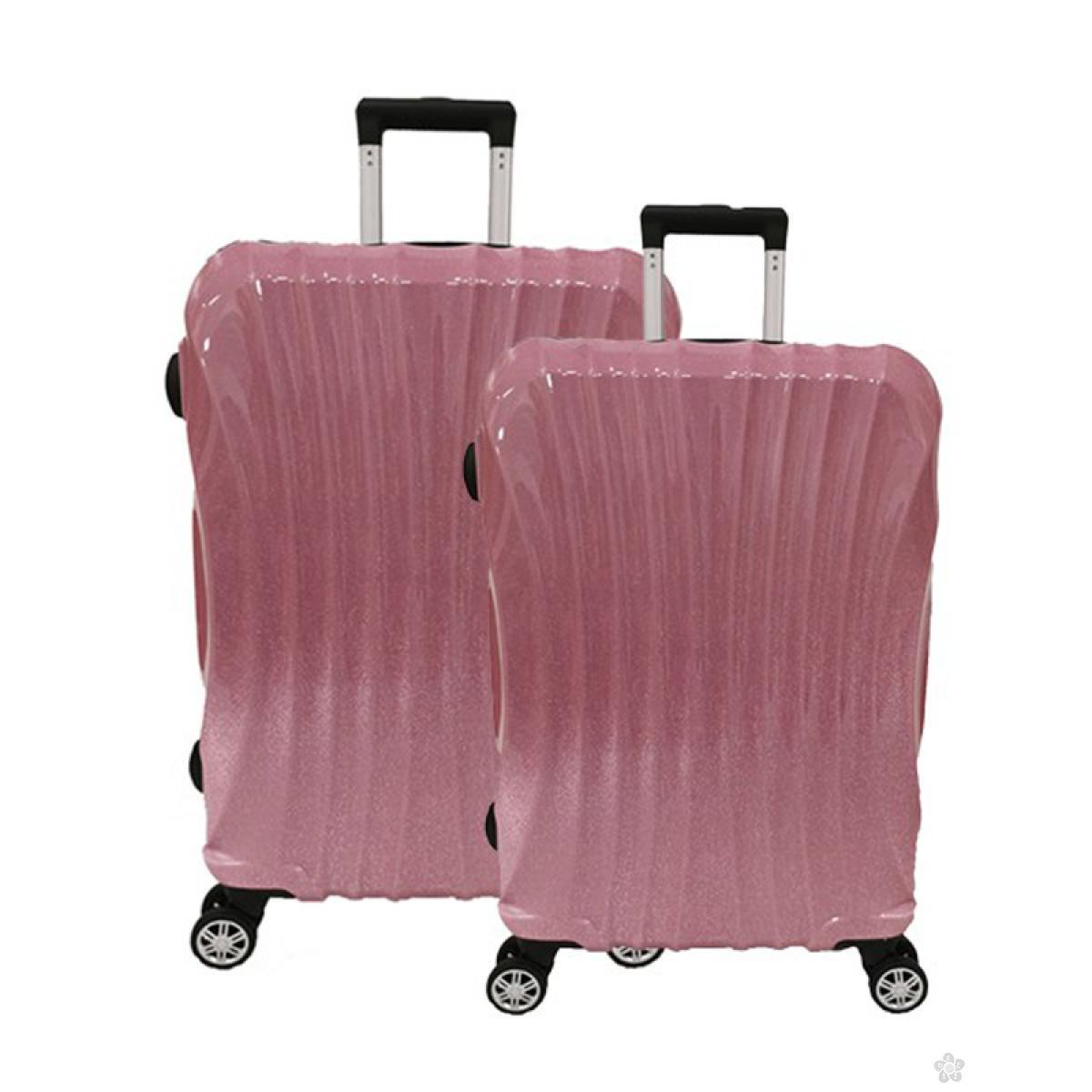 Set kofera Las Vegas ABS 2 komada -gliter roze