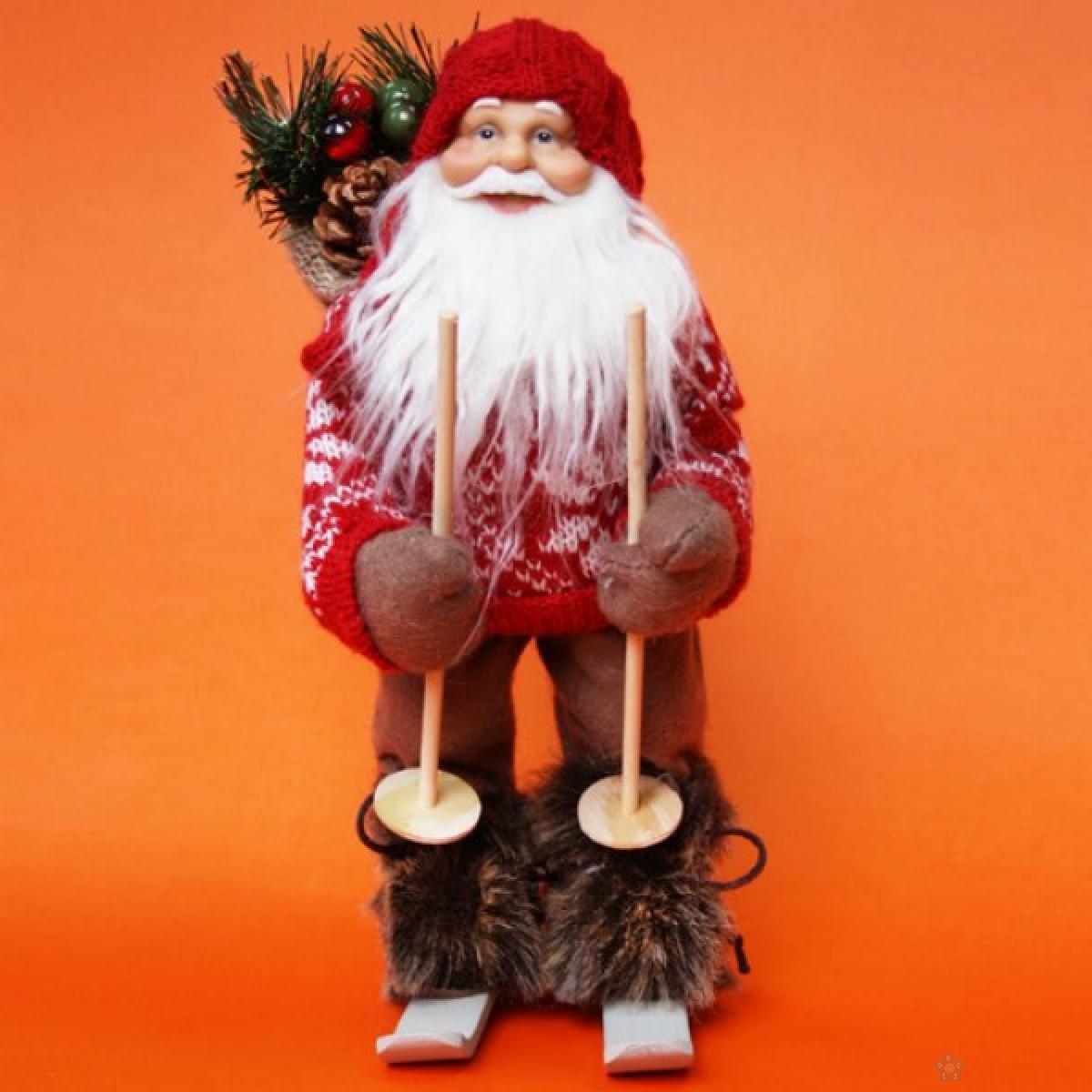 Deda mraz crveni sa skijama 30cm, SK12D114