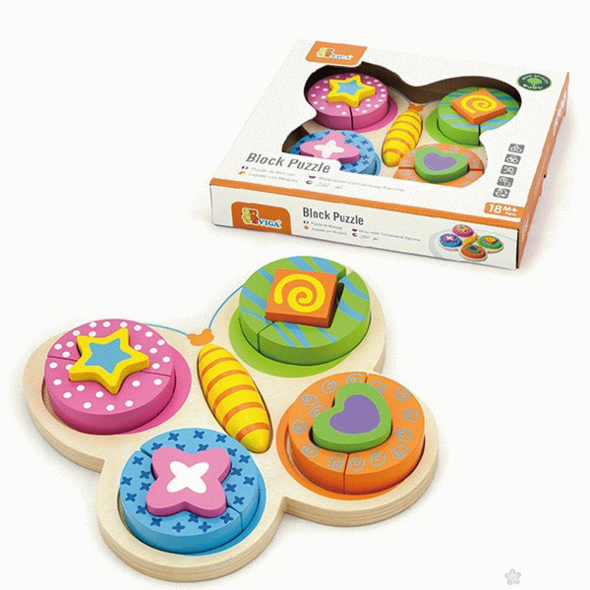 Drvena igračka 3D umetaljka leptir Viga, 59924