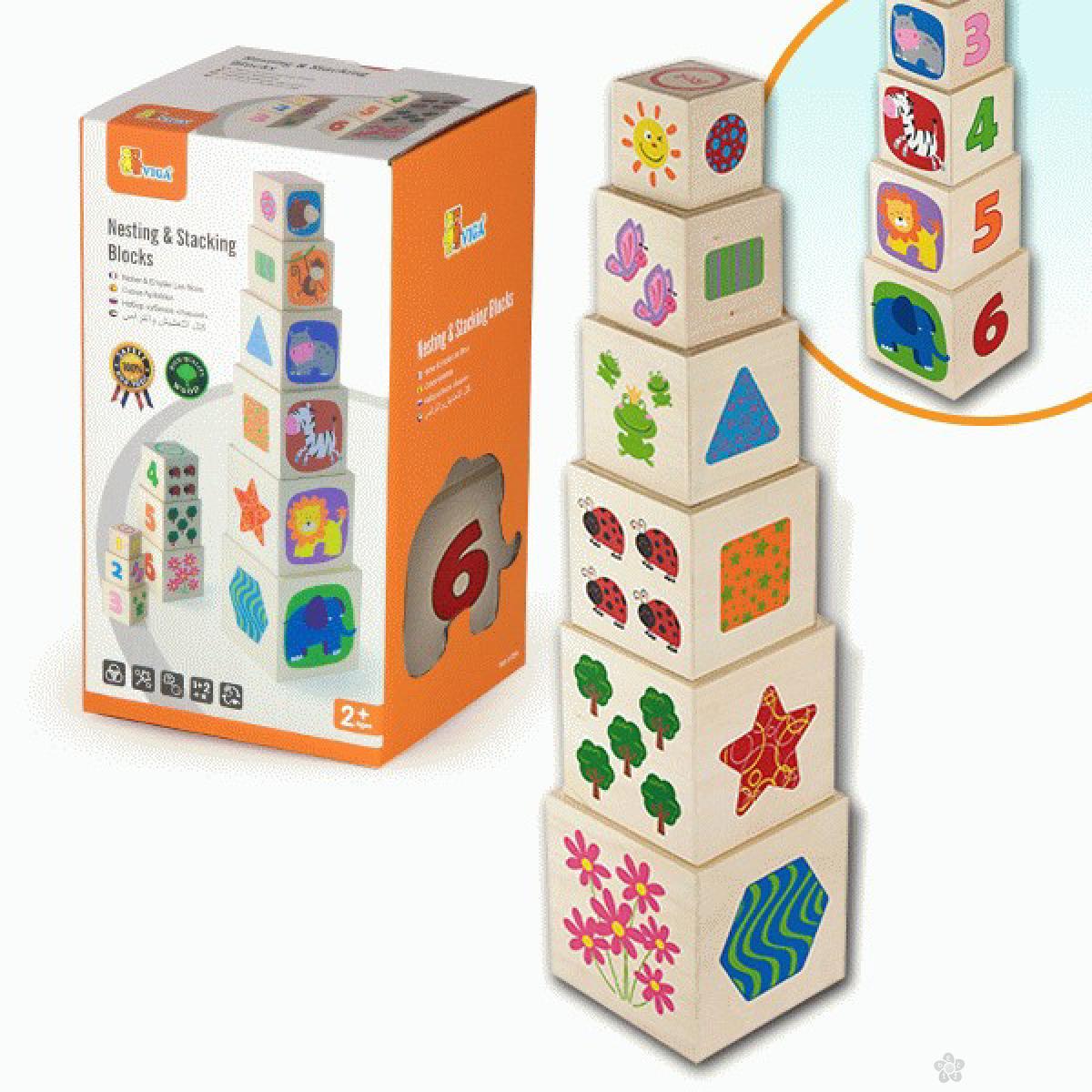 Drvena igračka kocka u kocki Viga, 50392