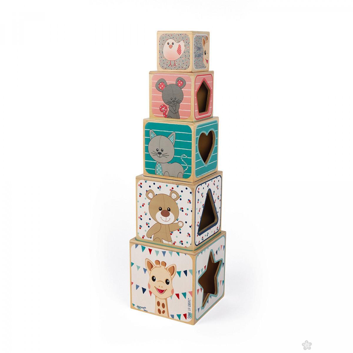 Drvene kocke Sophie la Girafe J09503