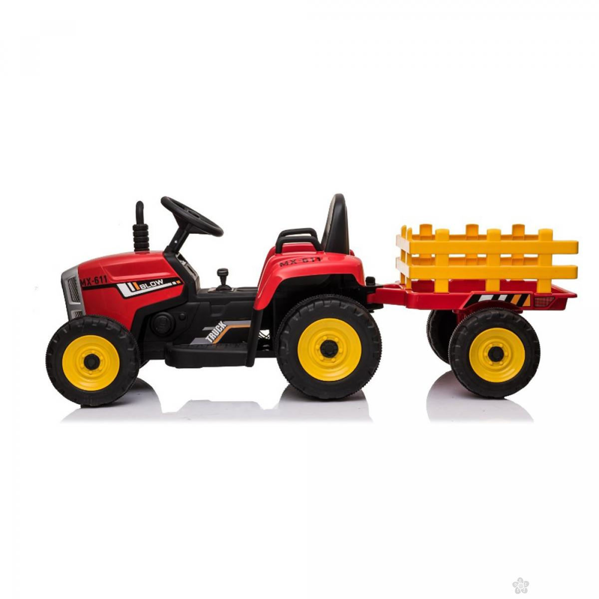 Dečji traktor sa prikolicom na akumulator model 261 CRVENI