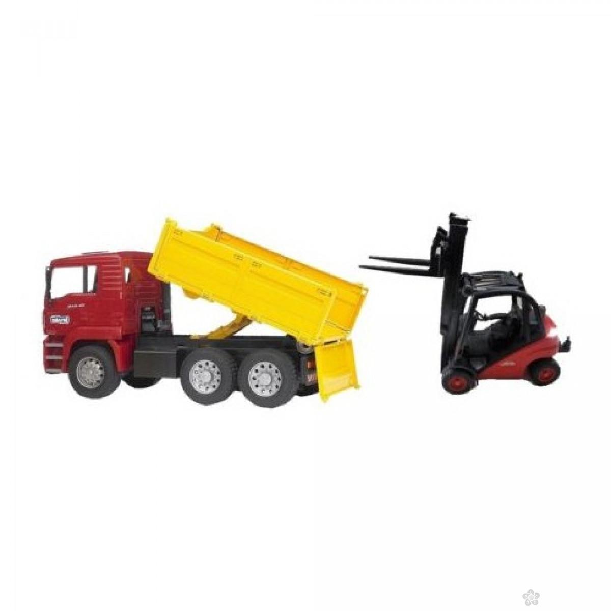 Kamion kiper sa viljuškarom Linde 017958