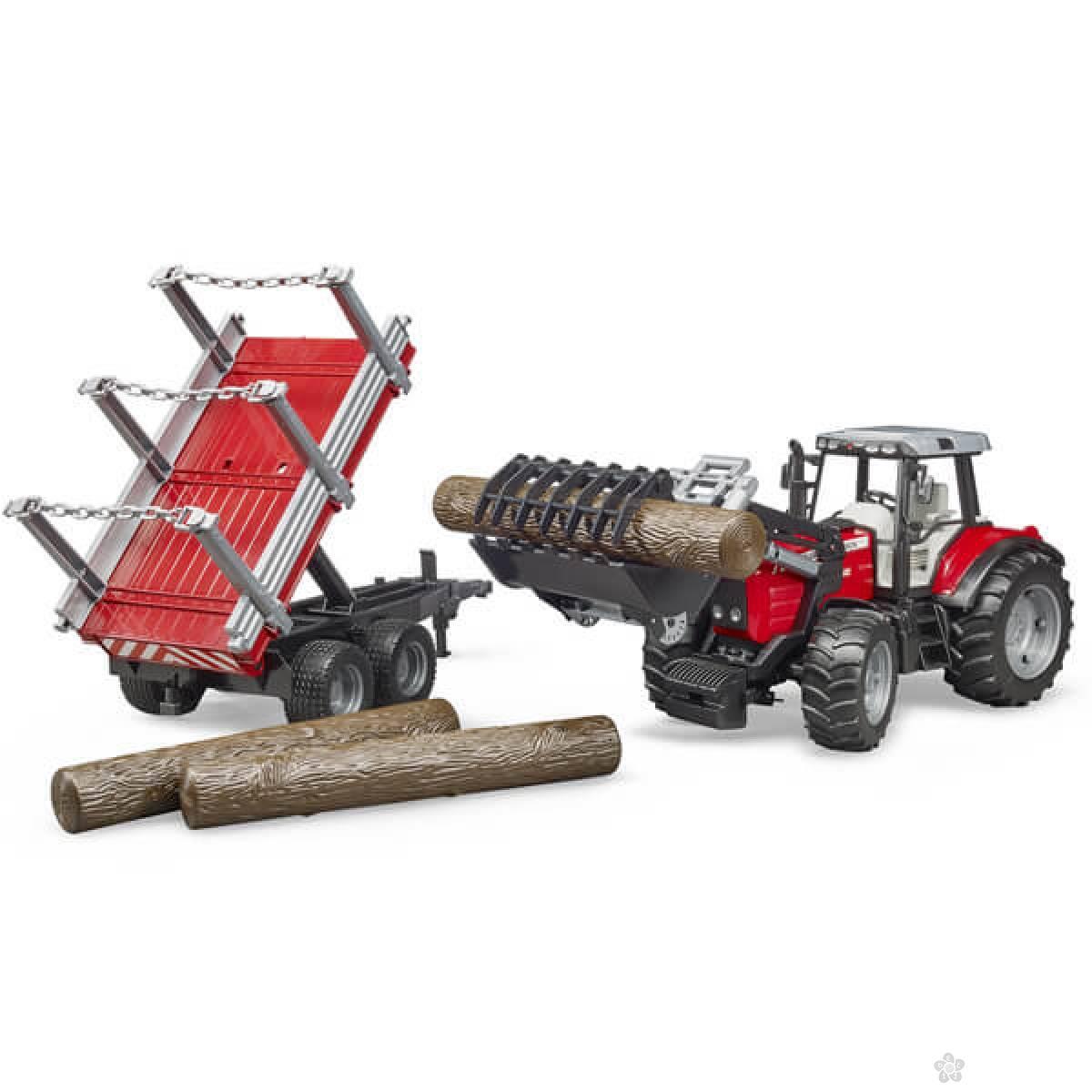 Traktor Massey Ferguson sa prikolicom za drva 020460