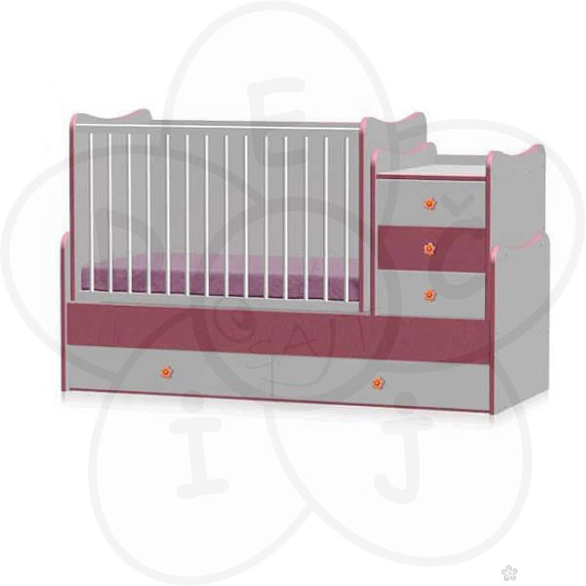 Bretoni Drveni Krevetac Maxi Plus - White - Pink