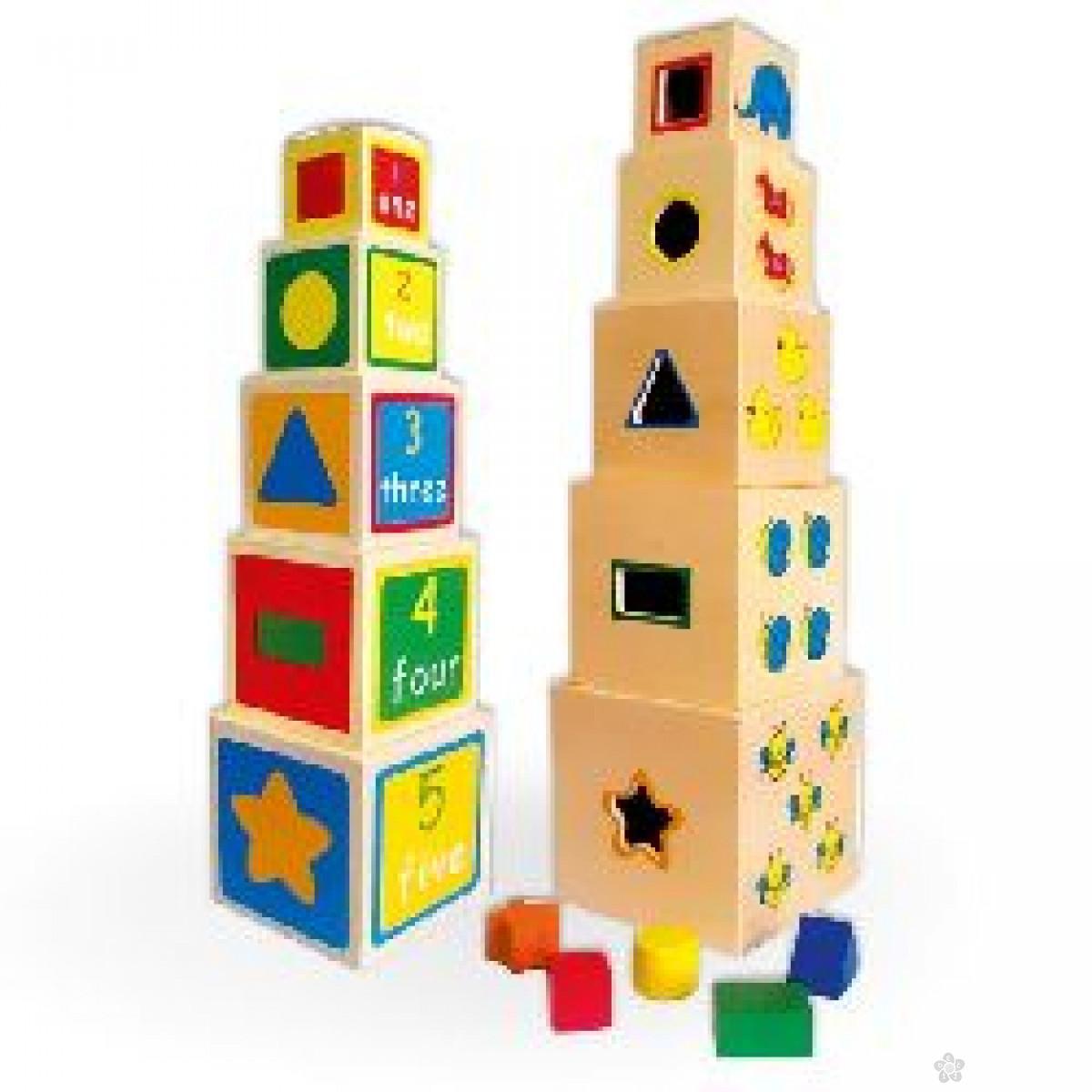 Igračke Pertini Slagalica kocka u kocki-oblik, broj, skup 58337