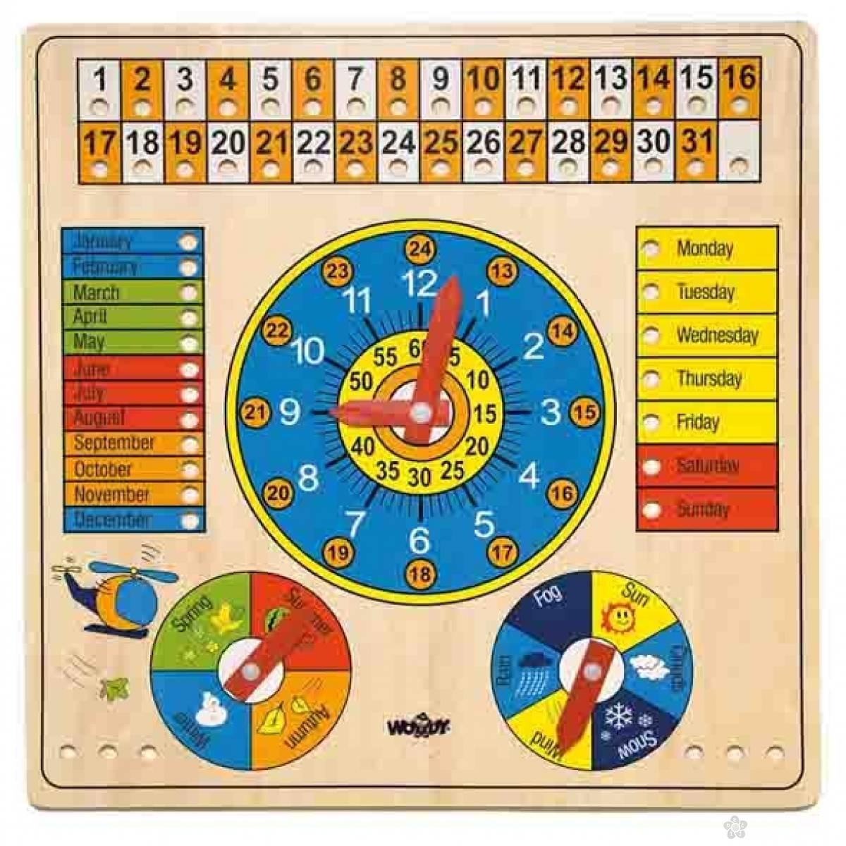 Drveni kalendar, sat, godisnja doba, dani u sedmici 90659