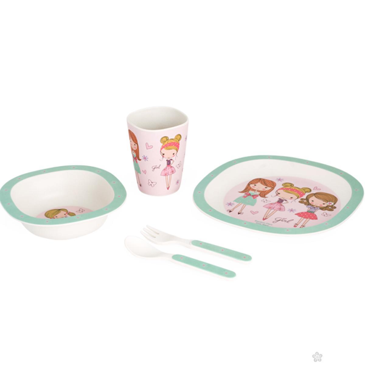 Set za hranjenje od bambusa Fashion Girl