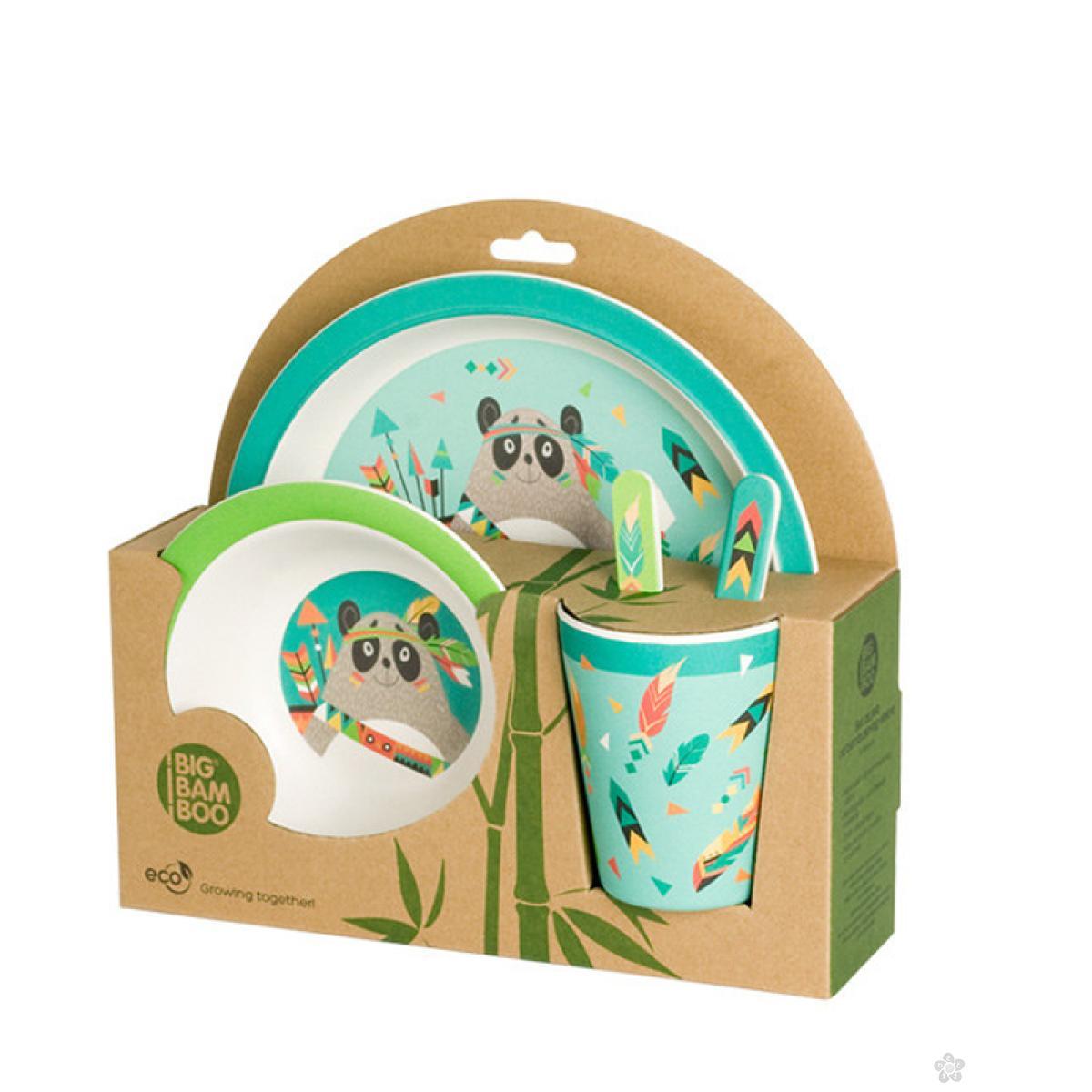 Set za hranjenje od bambusa Panda Indijanac