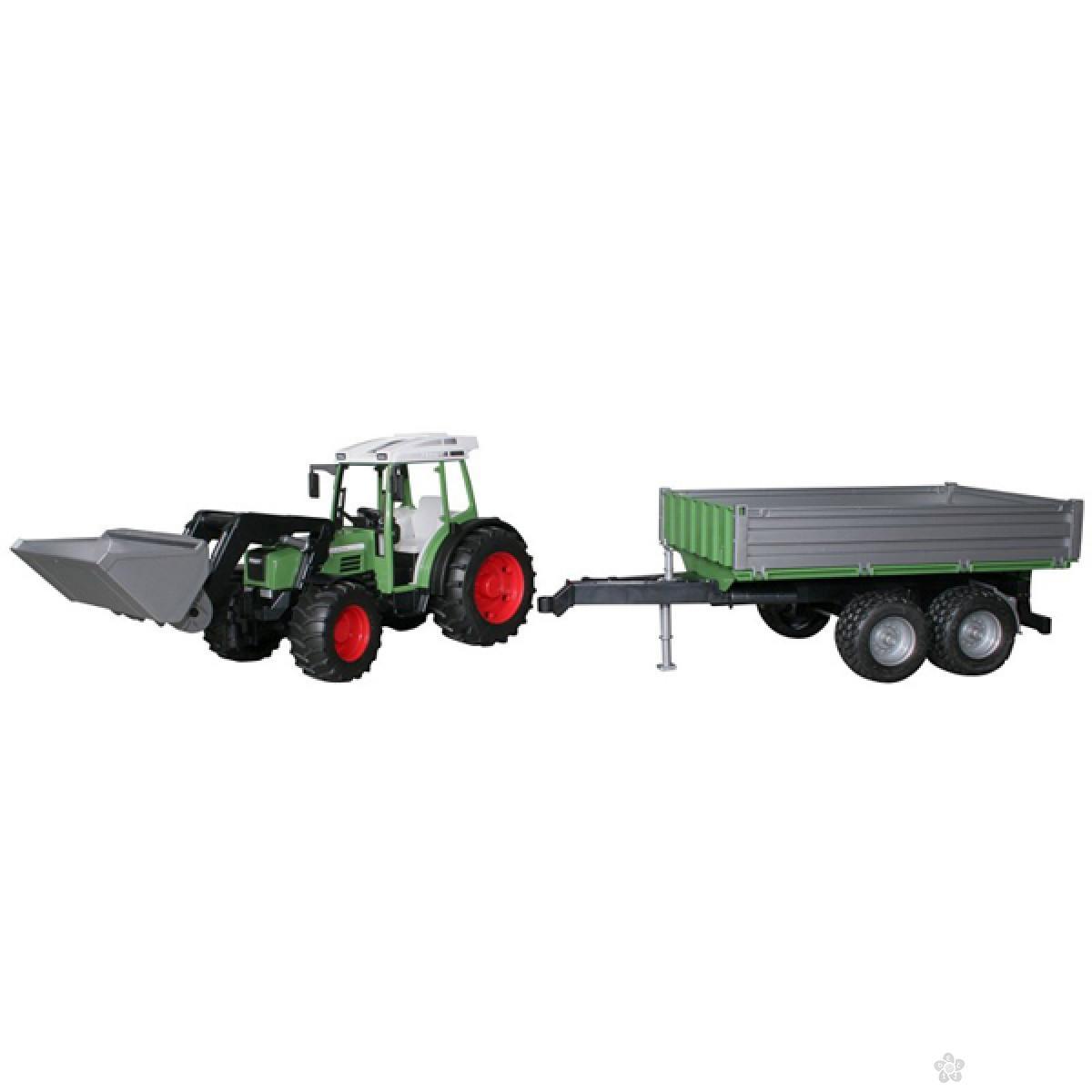 Traktor Fendt sa prikolicom i prednjim utovarivačem Bruder 019990