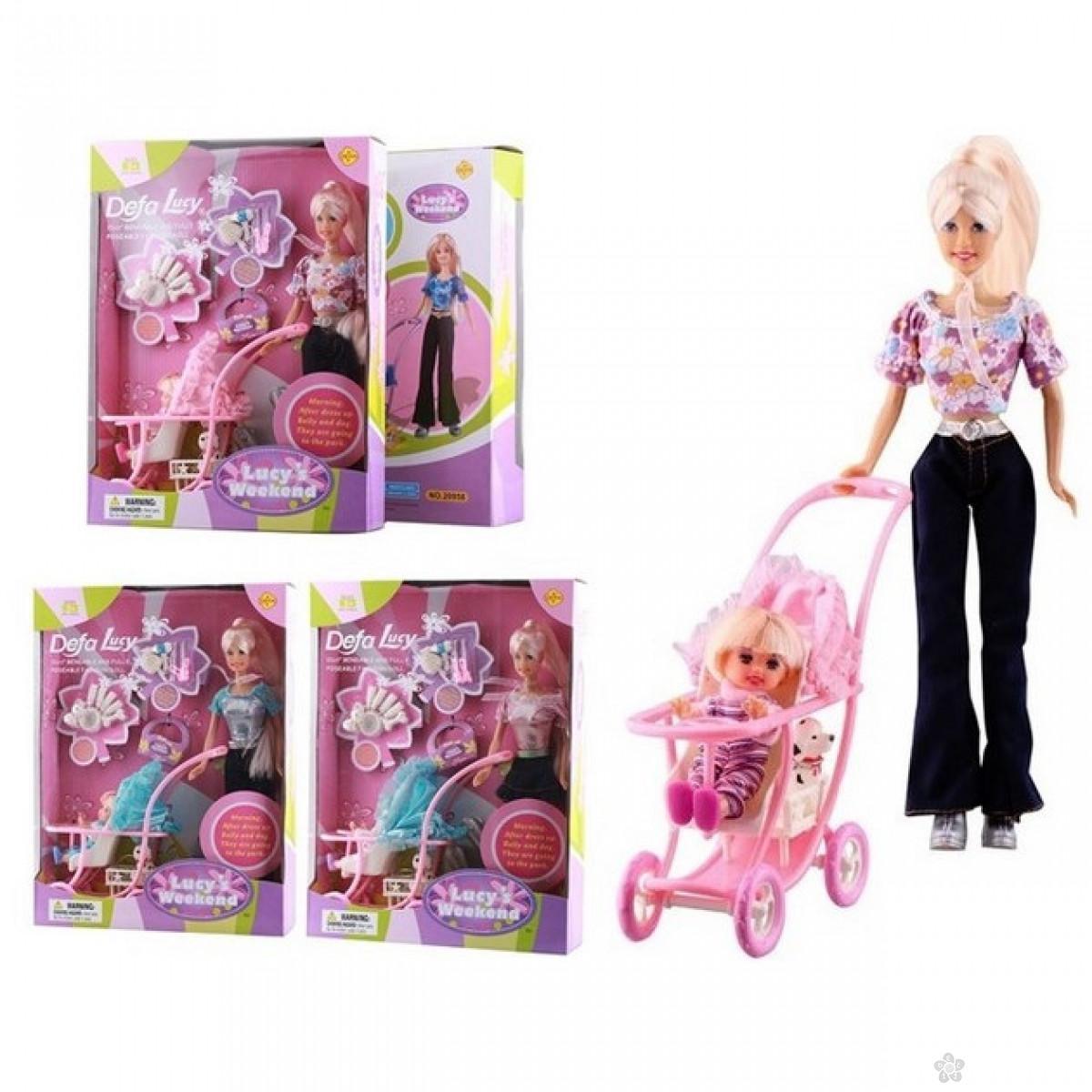 Defa Lutka sa kolicima bebom i ljubimcem, 06028
