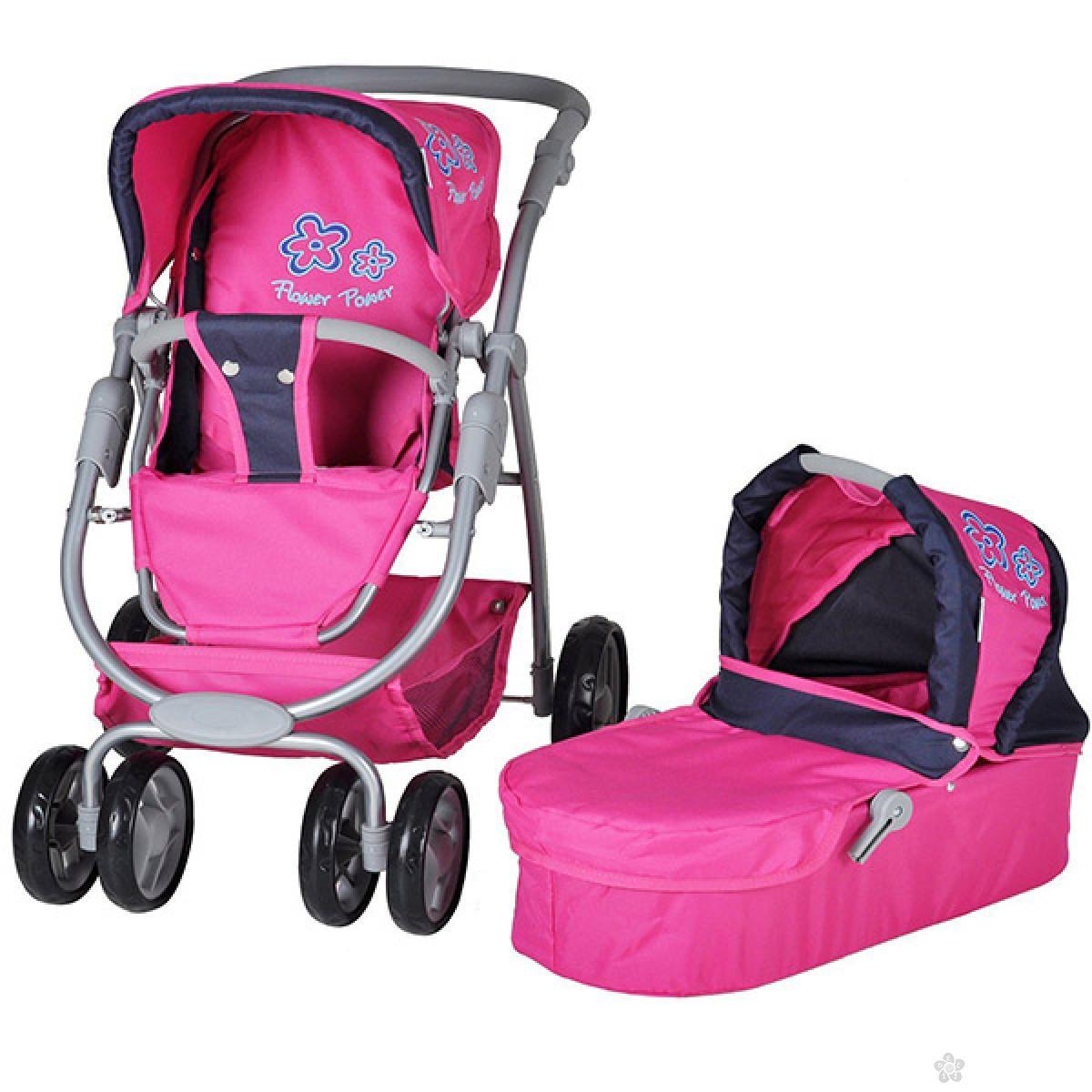 Kolica za lutke Knorr Toys COCO flower power pink 90766