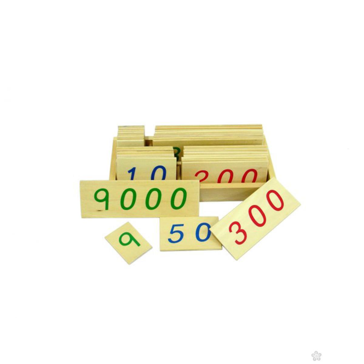 Montesori-drvene numeričke pločice 1-9000-manje, sa kutijom, HTM0130