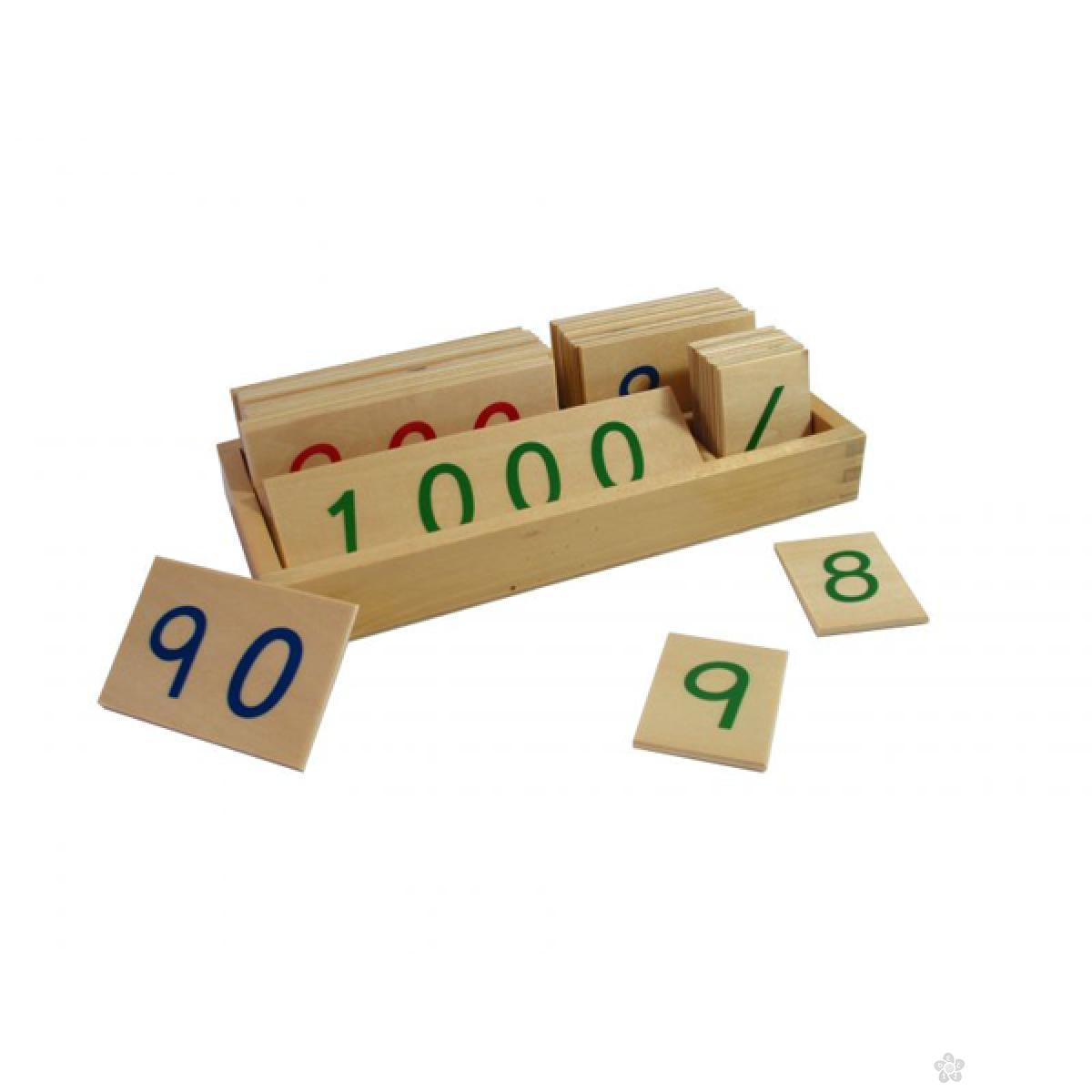 Montesori-drvene numeričke pločice 1-3000-manje, sa kutijom, HTM0134