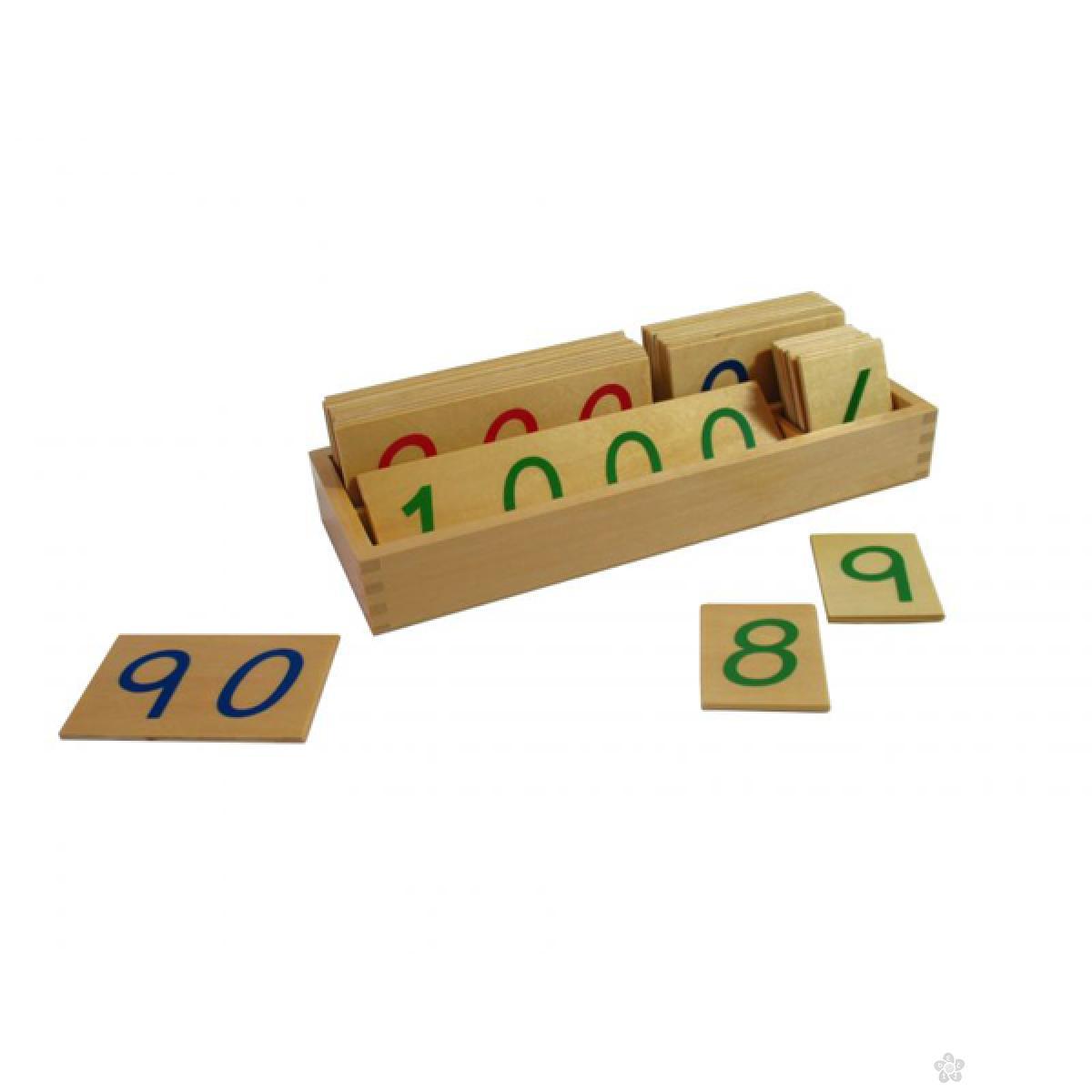 Montesori-drvene numeričke pločice 1-1000-veće, sa kutijom, HTM0135