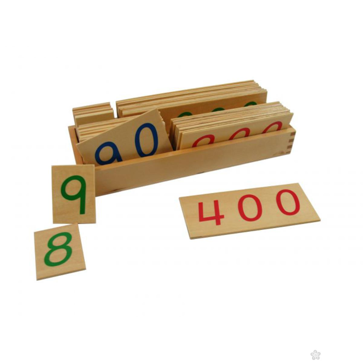 Montesori-drvene numeričke pločice 1-9000-veće, sa kutijom, HTM0137