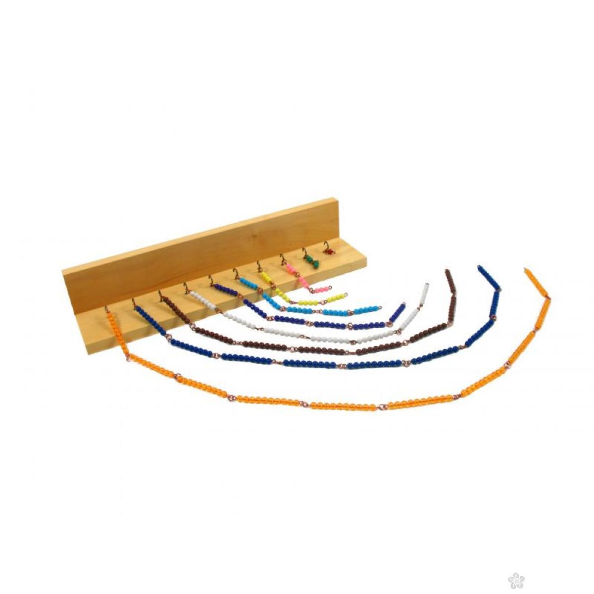 Montesori-šareni lančići za računanje i drveno postolje sa kukama, HTM0226