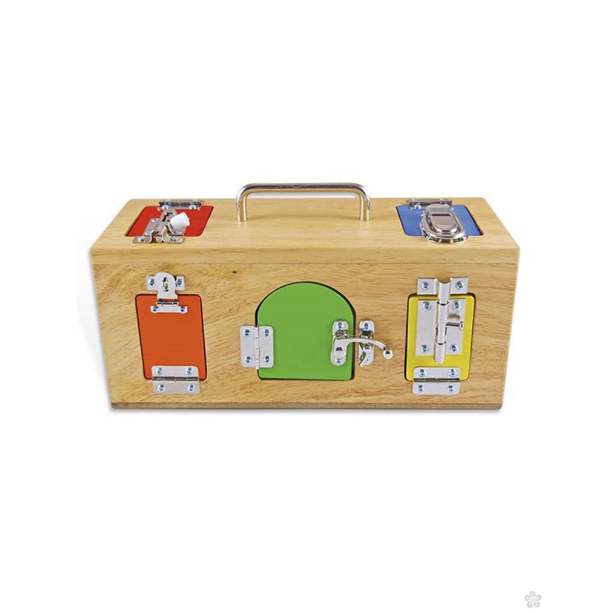 Montesori drvena kutija sa bravama i katancima, HTS0024