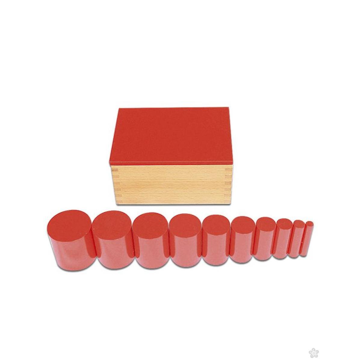 Montesori kutija sa cilindrom-crvena, HTS0045R
