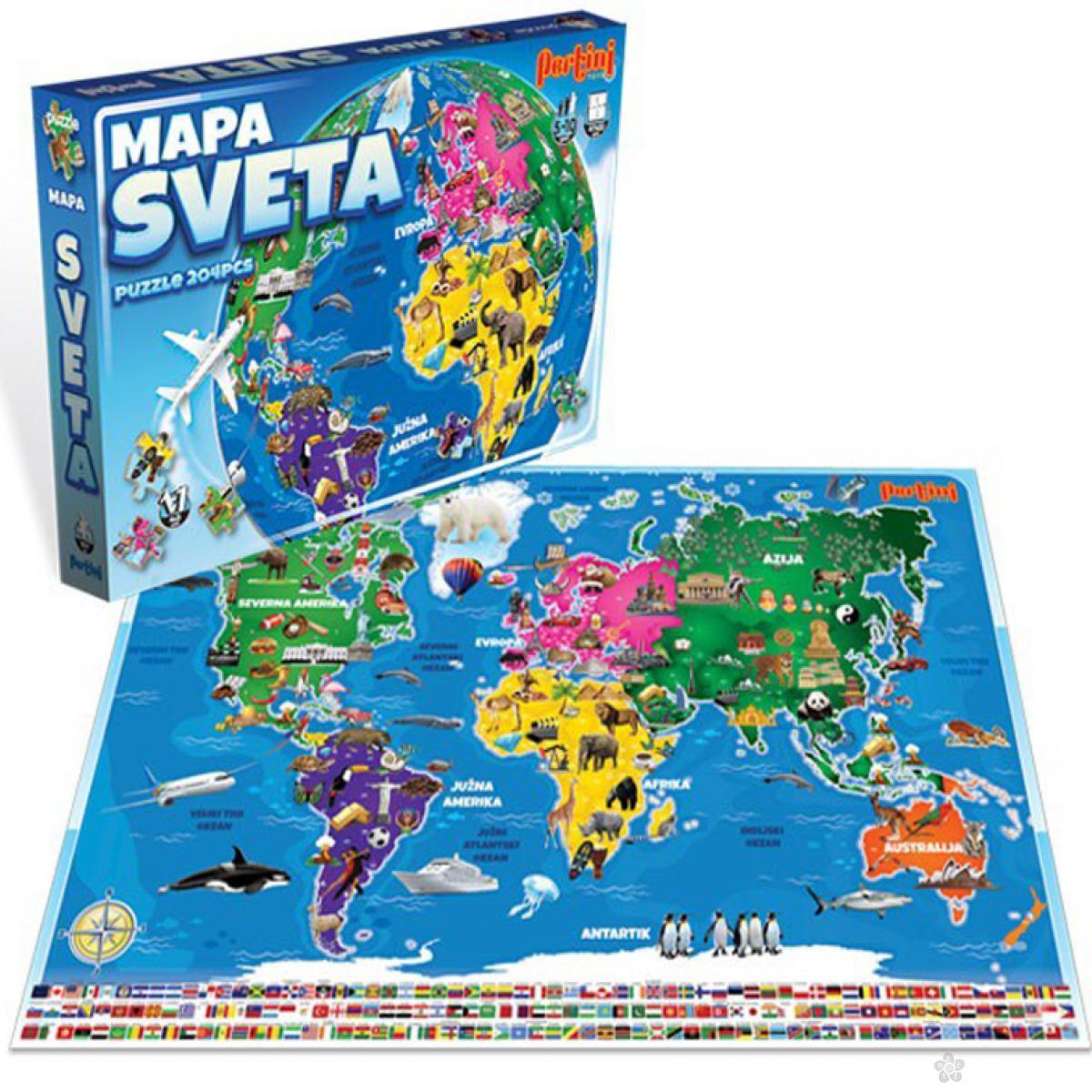 Puzzle Mapa sveta 204 elementa