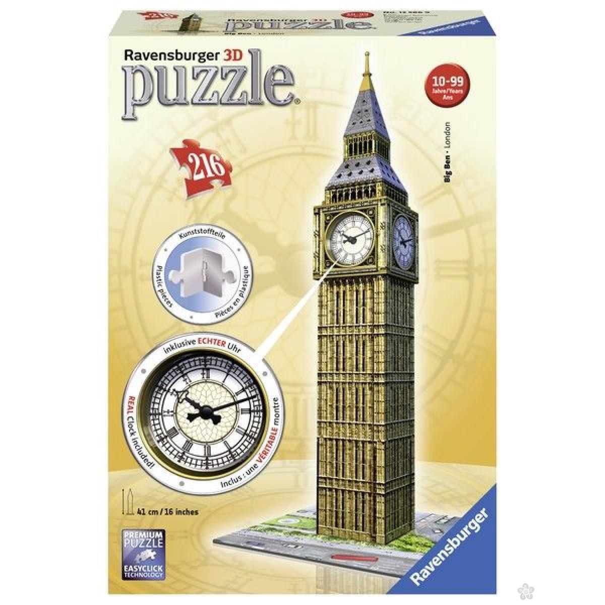 Ravensburger 3D puzzle (slagalice) - Big Ben sa satom RA12586