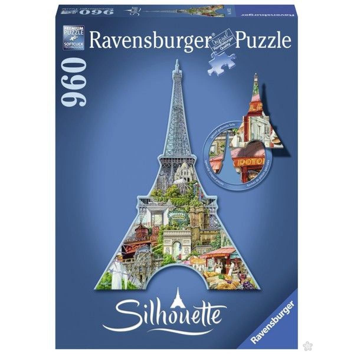 Ravensburger puzzle (slagalice) - Ajfelova kula silueta RA16152