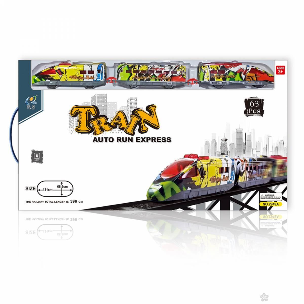 Brzi voz sa stanicom i mostom- 63 elementa 23048