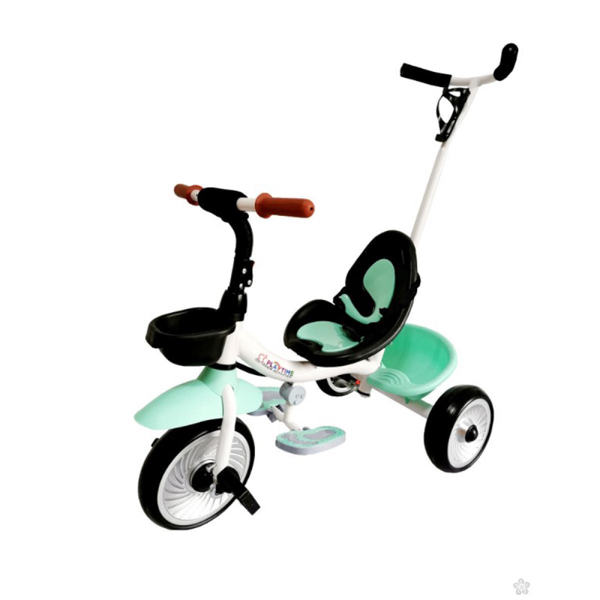 Tricikl  sa ručicom za guranje model 429 zeleni
