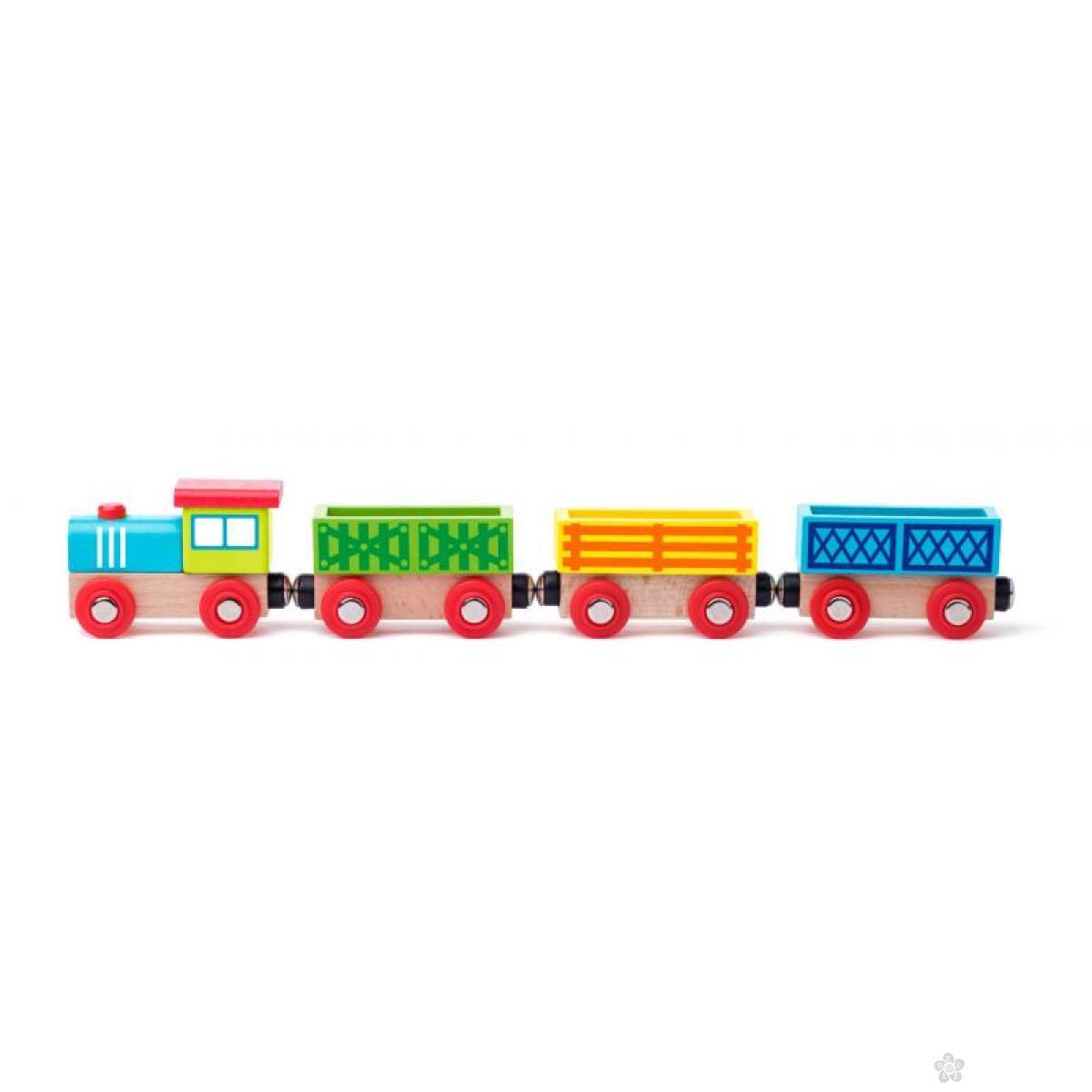 Drvena pruga životinje i vozić 93060