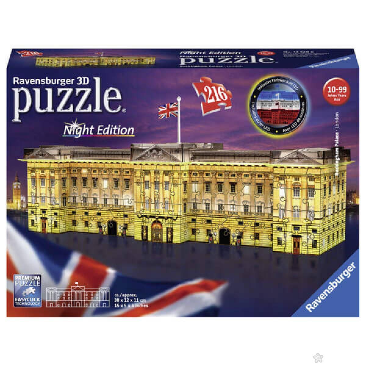 Ravensburger 3D puzzle Bakingemska palata noćno izdanje RA12529