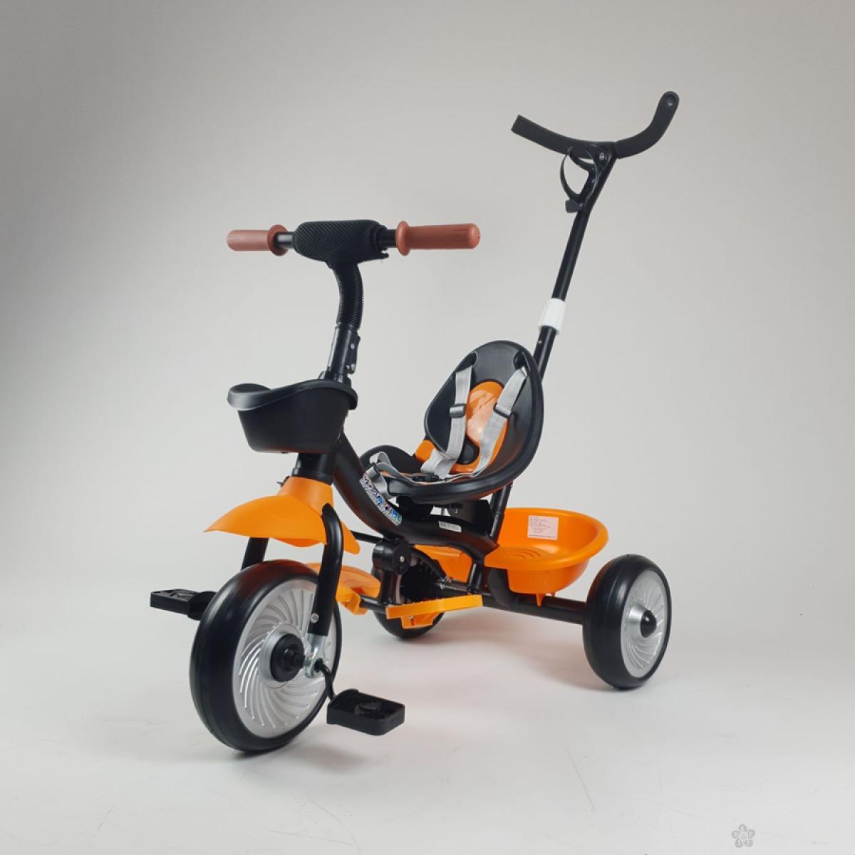 Tricikl  sa ručicom za guranje model 429 narandžasti