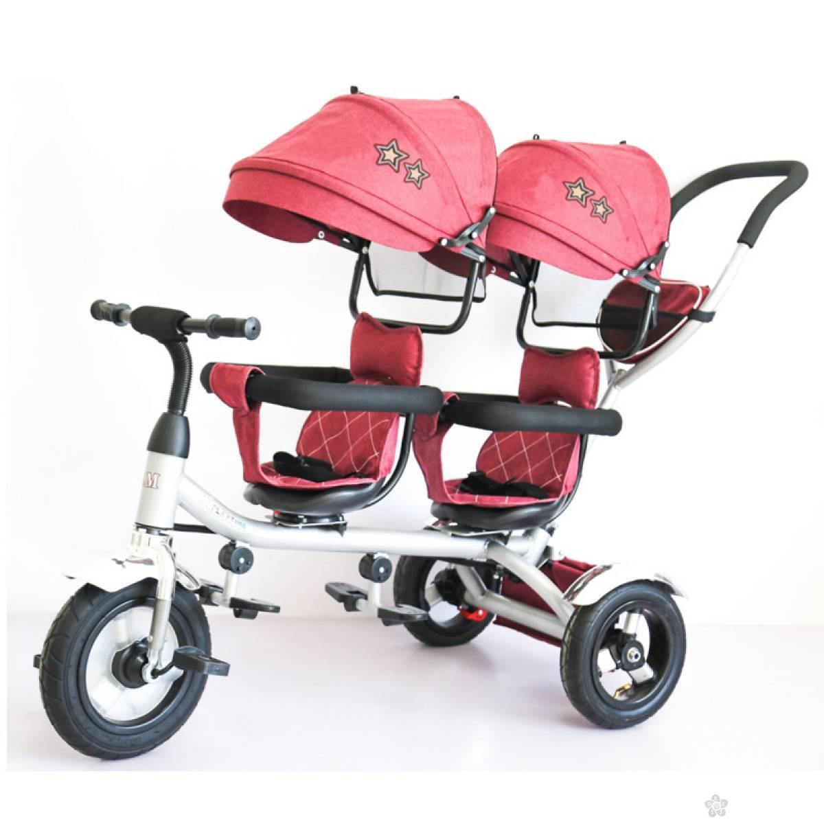 Tricikl za blizance Playtime,  model 412-1 TWINS crveni